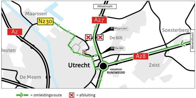 Weekendafsluiting op- en afritten A27 aansluiting Utrecht-Noord op 20, 21 en 22 april 2018.